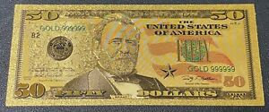 Gold Foil Banknote USA $50 Bill 24k gold Shipped from USA. type 2