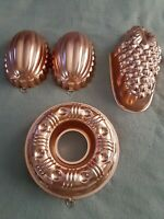 Vintage Lot Of 5 Jello, Cake, Dessert Molds, Copper, Wall Hanging