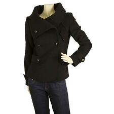 Gaetanonavarra Black Warm Winter Women's Wool Jacket Coat Large Collar size 42