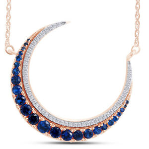 Round Blue Sapphire & Simulated Diamond Moon Necklace 14K Solid Rose Gold