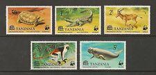 Tanzania #82-86 VF MNH - 1977 50c to 5sh WWF Endangered Species - SCV $26.65