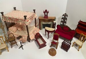 Vintage Victorian Furniture Canopy Bed Fireplace Dollhouse Miniature 1:12