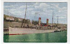 "OCEAN LINER ""EDINBURGH CASTLE"" AT QUEENSTOWN: Cork Ireland postcard (C22079)"