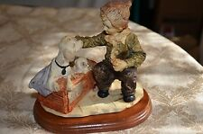 "Boys Best Friend! ""Dog for Sale"" figurine with wood base ~ Boy, Dog and Puppies"