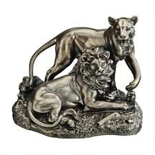 """Lion And Lioness Pride Of Place Design Toscano Faux Bronze 8½"""" Animal Statue"""