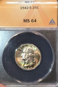 1942-S 25c ANACS MS64 - Washington Quarter
