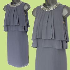 MONSOON Purple Pearl Embellished Neck Layers Cocktail Tunic Dress 8 EU 36 £109