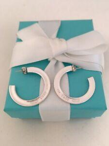 Tiffany & Co Sterling Silver 1837 Large Flat Hoop Earrings. Rare & Retired