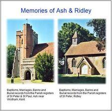 Ash & Ridley(near Wrotham), Kent - Parish Registers Transcripts on CD