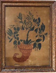Antique THEOREM on VELVET of FLOWERS in CORNUCOPIA, SIGNED MARK SANFORD, c 1840s