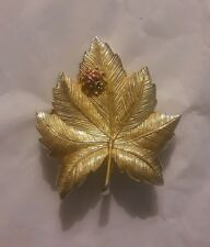 Large Gold Wash Enamel Lady Bug on Leaf Pave Rhinestone Brooch Pin
