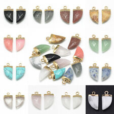 20 pcs Brass Findings Faceted Tusk Natural Synthetic Gemstone Pointed Pendants