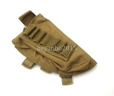 TACTICAL MILITARY RIFLE SHOTGUN BUTTSTOCK SHELL AMMO HOLDER STOCK POUCH BAG -MUD