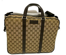 NEW Gucci GG Monogram Canvas Supreme Leather Briefcase Laptop Tote Bag