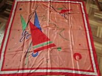 Vintage 100% SILK Scarf by Wagon - Peach Red White Abstract Print 33 inch square