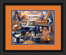 Illinois Fighting Illini Framed Tailgate Print - Poster Wood Wall Sign Man Cave