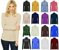 New Ladies High Roll Polo Turtle Neck knitted Ribbed Sweater Jumper Top (8-18)