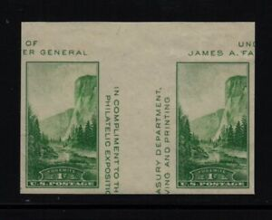 1935 Yosemite 1c green  Sc 769 Parks FARLEY pair with vertical gutter NGAI