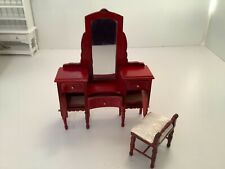 Dollhouse Miniatures Furniture Bedroom Vanity and Chair
