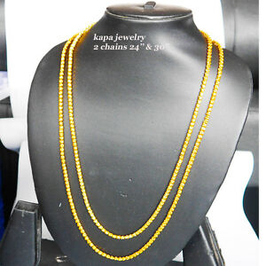 Indian Gold plated chain necklace 2 chains 24'' & 30'' latest designer style