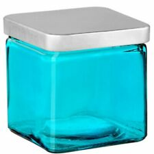 """Couronne - Glass Container with Metal Lid - 4"""" - Aqua"""