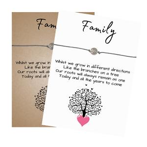 Family Verse Card Wish Bracelet Tree of Life Charm - Friendship Wristband
