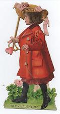 1908 Embossed Die Cut Valentine of Girl in Red Dress
