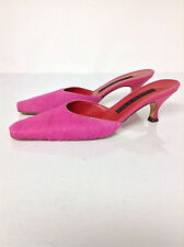 VICINI Heels Shoes Pink Fur Mules Size 36.5 - 6 Authentic