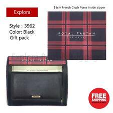 Royal Tartan Genuine Leather Ladies Wallet Medium Size Black Clutch Purse