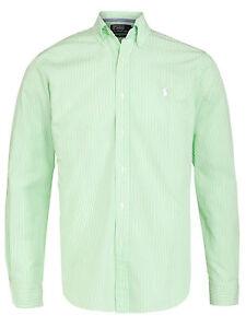 Ralph Lauren Boys Green & White Striped Polo Shirt UK Size Large