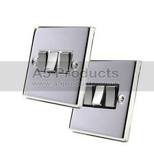 10 Amp Light Switch 3 Gang 2 Way in Polished Chrome Square Style Silver effect