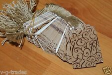 LOT 500 Scalloped COCOA Print 1 X 1 5/8 Paper Merchandise Price Tags with String