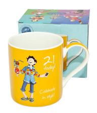 "Happy Birthday Yellow Mug -  Lesser Pavey ""21 today! Celebrate in style!"""