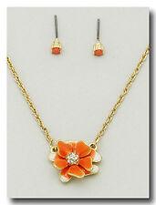 Contemporary Enameled Orange Pansy Epoxy Flower Pendant Necklace Set