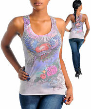 T10 -S/Small- Stretchy,Tattoo,Heart,Wings,Lace,Rhinestones Top