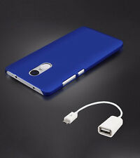 For (XIAOMI REDMI NOTE 4) Hard Back Case Cover  With OTG Cable  - Blue
