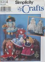 "Simplicity Crafts 9354 Old Fashioned 22"" RAG DOLL & Clothes Elaine Heigl Pattern"