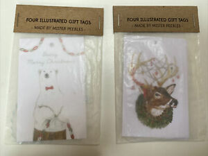 Anthropologie Christmas/Gift Present Tags - Pack of 4 - 2 designs to choose from