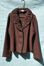 Vintage Susan Bristol Embellished Button-Down Sweater Jacket 100% Boil Wool L