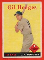 1958 Topps #162 Gil Hodges VG-VGEX+ WRINKLE Brooklyn Los Angeles Dodgers