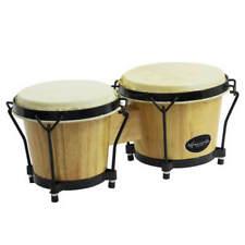 World Rhythm Bon7 6 and 7 Inch Beginners Oak Bongo Drums in Natural Finish