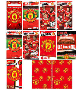 Official MANCHESTER UNITED FOOTBALL Birthday Cards Brother Dad Other+ Gift Wrap