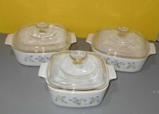 Corning Ware 6 Pc Provincial Blue Casserole Set One 1 1/2 L & 2 L w Pyrex Lids
