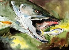 Northern Pike 8X10 Watercolor Cottage Decor Best Fishing Art Print Barry Singer