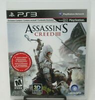 ASSASSIN'S CREED III GAME FOR PS3 PLAYSTATION 3, GAME DISC, CASE, MANUAL UBISOFT