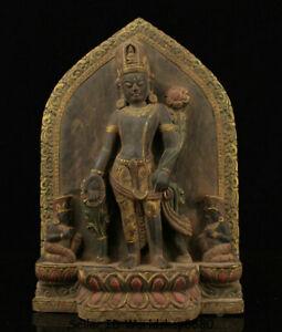 "12.8"" Old Tibet Buddhism Stone Painting Padmapani Lokeshvara Tara Statue Shrines"