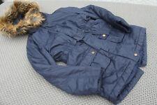 Girls Navy M&S Parka Rain Coat Age 9-10 Years Lightly Padded Detachable Fur Hood
