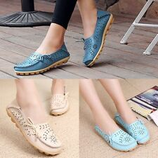 Womens Hollow Out Leather Driving Walking Moccasin Flat Loafers Casual Shoes