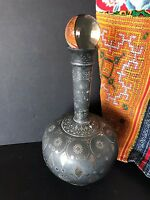 Old 19th Century Bidriware Pewter & inlaid Silver Decanter