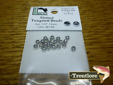 """20 PACK SILVER 5/32"""" 3.8mm TUNGSTEN SLOTTED BEAD HEADS - NEW FLY TYING MATERIALS"""
